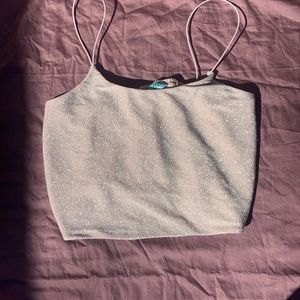 Pink Sparkly Cropped Tank